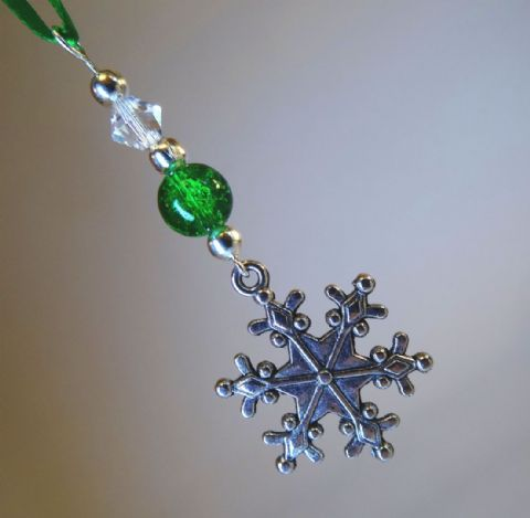 Silver Snowflake, Green Crackle Bead & Crystal - Xmas tree Decoration